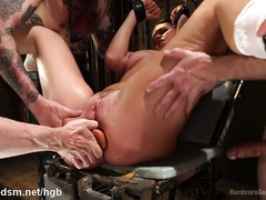 Several studs stretched beautiful pussy and anal canal to the maximum limit
