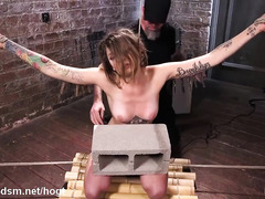 Tattooed slave moans wildly from master's merciless and wild punishment