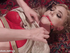 Mistress punishes blonde with rough fingering until it is drenched with nectar