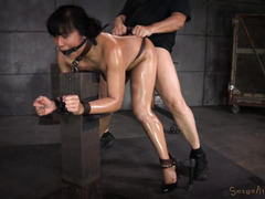 Big boobs Asian receives rough punishment for her mouth and love tunnel
