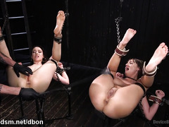 Two gorgeous slaves experienced excessive and kinky play for their wet beavers