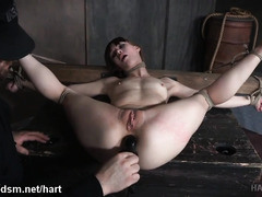 Explosive and painful bondage punishment for stunningly beautiful brunette slave