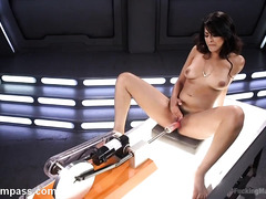 Sultry babe's explosive and explicit masturbation with the fucking machine