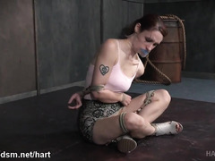 Skinny redhead experiences mind-blowing orgasms from her bondage punishment
