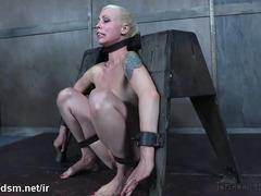 Captivating blonde moans wildly from master's fierce bondage punishment