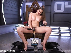 Awfully satisfying fucking machine experiences from stunning brunette chick