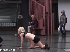 Stunning and petite blonde becomes mistress's obedienct pet slave outdoors