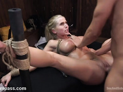 Busty blonde sweetheart surrenders her cunt and butt hole to horny geeky master