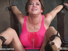 Huge tittied brunette suffers from relentless deepthroating and beaver toying