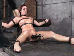 Submissive brunette is full of sweats from her lusty threesome punishment