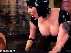 Sultry mistress in latex dominates worthless slave by fucking another stud