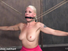 Fantastic body whipping and painful pussy flogging for busty blonde slave