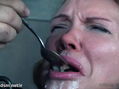 Submissive slave is in tears from receiving rough face flogging punishment