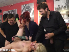 Blonde receives wicked fucking while many different spectators look on!