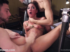 Intense and rough threesome fucking punishment for hot submissive slave
