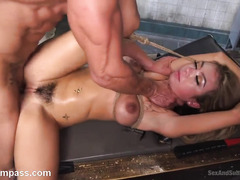 Bounded brunette experiences explicit and humiliating bondage punishment