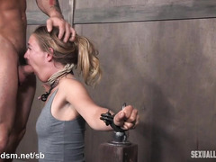Explosive squirting from hot slave after fervent deepthroating tormenting