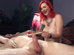 Redhead mistress always gets what she wants from tough and submissive slave
