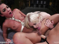 Three beautiful lesbians are having explosive fun with their tight anal canals