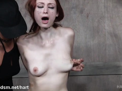 Mistress punishes smoking hot redhead slave with vigorous pussy toying