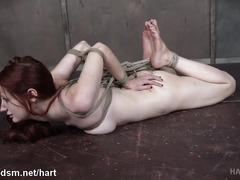 Mistress punishes smoking hot redhead slave with vigorous pussy toying