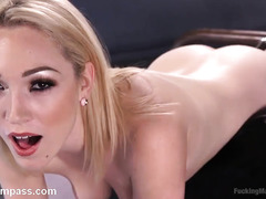 Horny blonde needs a powerful fucking machine to tame her unruly and wild pussy