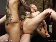Slutty blonde needs several thick and tough male rods to tame her beaver