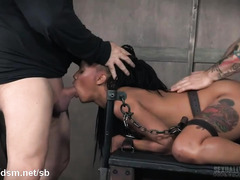 Rough fucking and relentless deepthroating punishment for sexy black slave