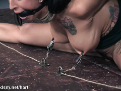 Painful tits clamping and rough flogging punishment for busty tattooed slave
