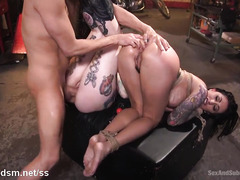 Two voluptuous tattoed slave beauties submit to master's kinky demands