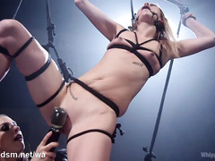 Sweet slave loves sexy mistress's punishments on her smoking hot body