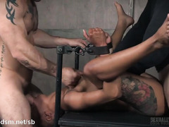 Tattooed ebony experiences mind-blowing cock gagging pleasures from two masters