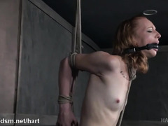 Excessive toying and beating delights for beautiful submissive brunette slave
