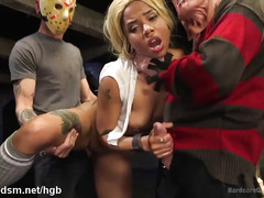 Blonde ebony enjoys rough gangbang pleasures from several horny creeps