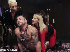 Attractive slave stud suffers relentless from two demanding mistresses