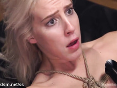 Hot chick is punished by demanding blonde mistress and master for stealing