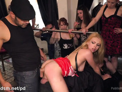 Humiliation and public double penetration punishment for gorgeous blonde slave