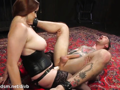 Voluptuous mistress dominates stud slave with rough cock riding and anal shoveling