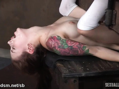 Tattooed slave receives relentless beaver licking and rough deepthroating