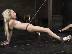 Two beautiful skinny slaves suffers from rough and excessive beaver thrashing