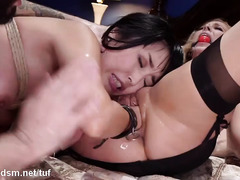 Rough slave training session for lovely submissive Asian and blonde slaves