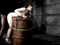 Submissive redhead slave experiences rough interracial doggystyle thrashing