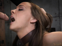Gorgeous brunette slave is breathless from relentless and excessive breathplay