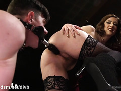 Busty brunette mistress expects only good fucking service from stud slave