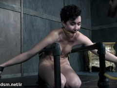 Bounded slave receives painful beating punishment for her sexy naked body