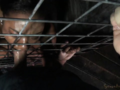 Relentless and intense blowjob suffering for a caged up black slave babe