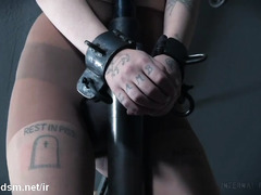 Lovely slave screams loudly from master's persistent beating and pleasuring