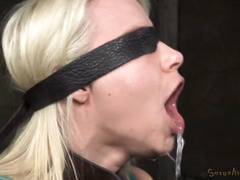Demure blonde slave suffers from repeated deepthroating and fucking delights