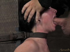 Tormenting submissive slave beauty with extensive deepthroating pleasures