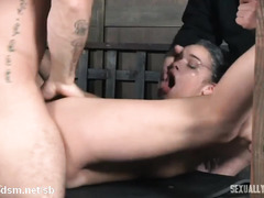 Submissive slave receives endless pussy fucking and cock gagging delights